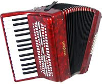 Scarlatti Piano Accordion, 24 Bass. Red Red pearl finish. 30 treble key, 2 voice, G to C, with straps