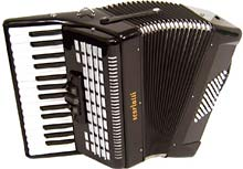 Scarlatti Piano Accordion, 48 Bass.Black Black finish, 26 keys, 3 treble couplers, 2 voice, 8 by 6 bass keys, with straps