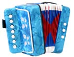 Scarlatti Child's 7 Key Melodeon, Blue 2 bass buttons, 1 bass side air button and 7 treble in C, Mini Squeezebox!