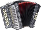 Scarlatti Nero G/C Melodeon, Czech Durall Reed 21 treble buttons, 8 bass buttons. 2 voice, bass coupler, grey finish