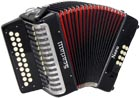 Scarlatti Nero D/G Melodeon, Czech Durall Reed 21 treble buttons, 8 bass buttons. 2 voice, bass coupler, black finish