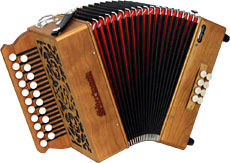 Sherwood Shire II G/C Melodeon, Cagnoni Reeds 2 row model with 21 treble buttons. 2 voice. 8 bass buttons with bass stop