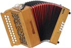 Sherwood Shire III G/C Melodeon, Cagnoni Reeds 2 row model with 23 treble buttons. 3 voice. 8 bass buttons with bass stop