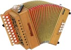 Sherwood Shire III D/G Melodeon, Cagnoni Reeds 2 row model with 21 treble buttons. 3 voice. 8 bass buttons with bass stop