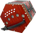 Scarlatti SC-20 C/G Anglo Concertina, 2v, 20 Key Anglo 20 key in C/G, 2 voice, wooden ends, plastic buttons, red/green bellows