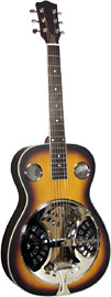 Ashbury AR-35 Resonator Guitar, Single Cone Spruce top with sunburst finish and rosewood back and sides. Round neck.