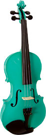 Blue Moon VG-105 Green Violin, Full Size 4/4 size. Green finish violin outfit, Solid spruce top, maple body