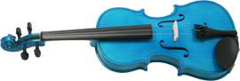 Blue Moon VG-105 Blue Violin, 3/4 Size Colored violin outfit, Solid spruce top, maple body. Ebonized fittings